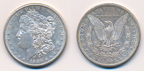 Valør: 1$ - USA - Årstall: 1886