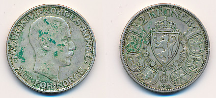 Valør: 2 kr - Årstall: 1912 - Kvalitet: 1 flekker