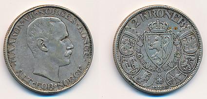 Valør: 2 kr - Årstall: 1908 - Kvalitet: 1 kanthakk
