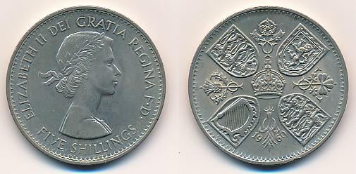 Valør: 5 Shillings / Crown - UK - Årstall: 1960