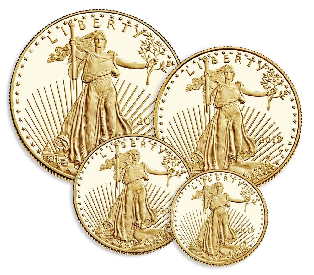 American Eagle sett med 4 stk Gull mynter fra USA 2019 Proof