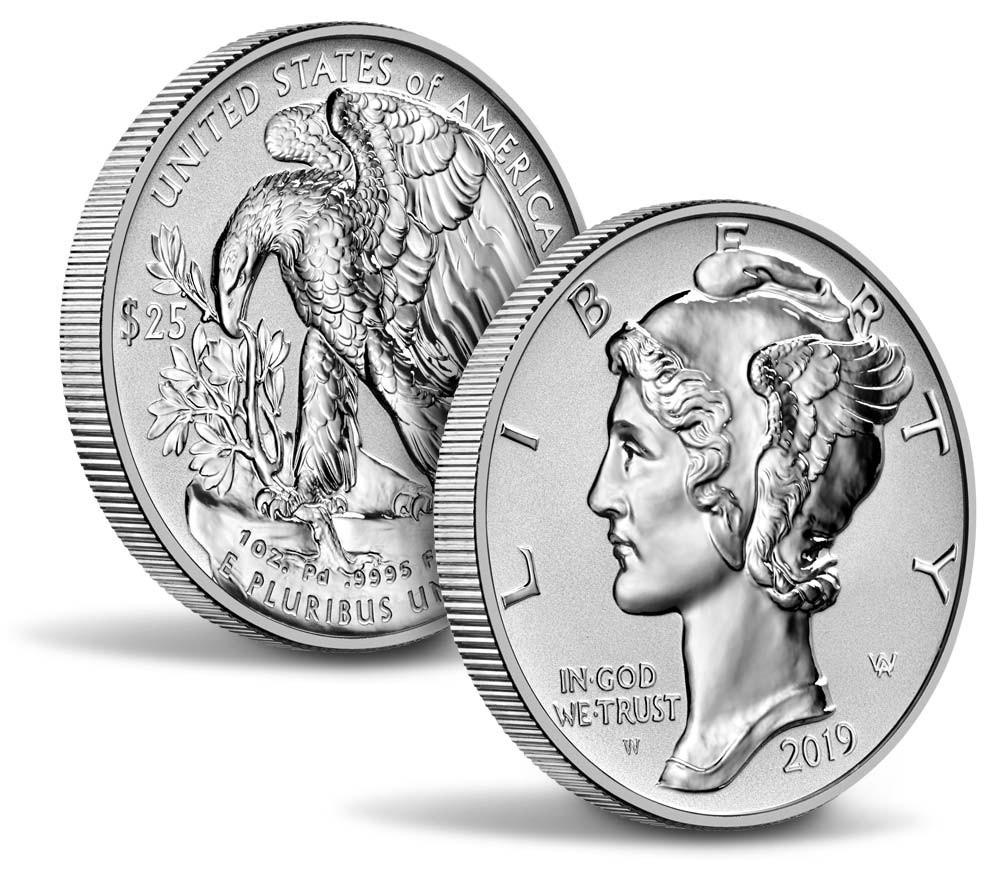25$ Palladium mynt fra USA 2019 Reverse Proof