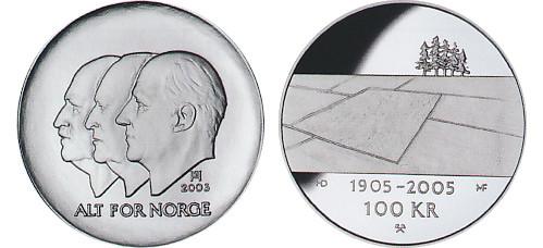 Valør: 100 kr - Hundreårsmynten Nr 1 Jordbruk - Årstall: 2003