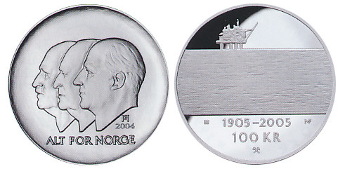 Valør: 100 kr - Hundreårsmynten Nr 2 Olje - Årstall: 2004