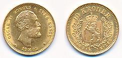 Valør: 10 kr - Gullmynt fra Norge - Årstall: 1902