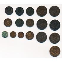 Oscar II - Lot på 17 mynter
