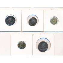 5 stk mynter fra Antikken - Lot 7 av 12