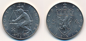 Valør: 5 Kr - Norge - Minnemynt for Kronemynten 100 år - Årstall: 1975 - Kvalitet: 0