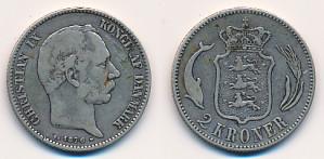 Valør: 2 kr Danmark - Årstall: 1876 - Kvalitet: 1
