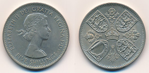 Valør: 5 Shillings / Crown - UK - Årstall: 1960