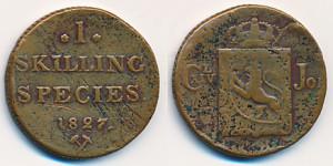 Valør: 1 Skilling - Norge - Årstall: 1827