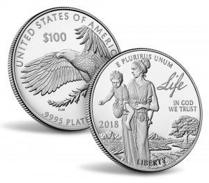 Valør: 100 Dollar - Platina mynt fra USA - Årstall: 2018