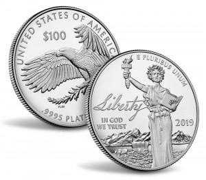 Valør: 100 Dollar - Platina mynt fra USA - Årstall: 2019