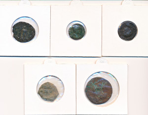 5 stk mynter fra Antikken