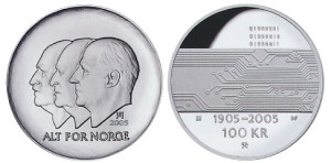 Valør: 100 kr - Hundreårsmynten Nr 3 Data - Årstall: 2005