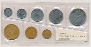 Norge år 1968 myntsett i mykplast.